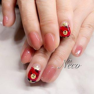 #ハンド #キャラクター #ピンク #レッド #ジェル #お客様 #nail salon Neco #ネイルブック