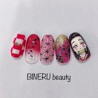 禰豆子ネイル👹 #きめつのやいばネイル #きめつのやいば #ねづこネイル #BINERU beauty #BINERU beauty #ネイルブック