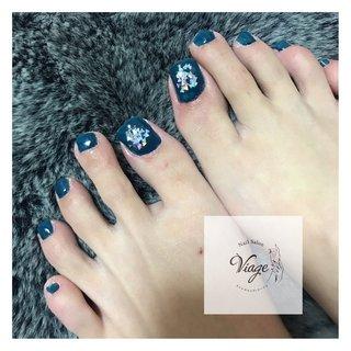 #フットネイル #冬ネイル #フット #ミディアム #ネイビー #ジェル #お客様 #nail salon viage(ヴィアージュ) #ネイルブック