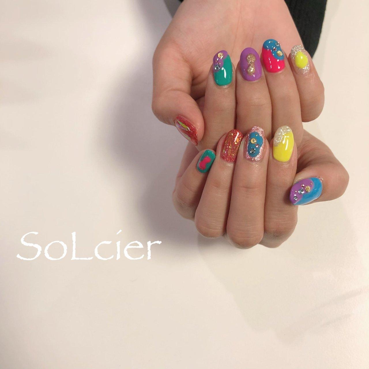 #ハンド #ネオンカラー #【SoLcier】ソルシエ #ネイルブック