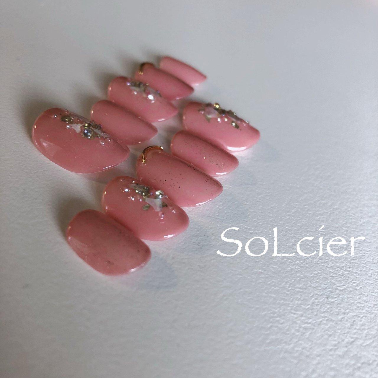 #ブライダル #ハンド #ワンカラー #クリスタルピクシー #ピンク #【SoLcier】ソルシエ #ネイルブック