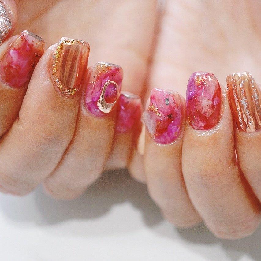 #ピンク#ラメ #ミラーネイル#ブラウン #冬ネイル #ショートネイル #ange nail salon #ネイルブック