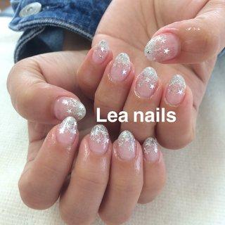 #ハンド #グラデーション #ラメ #星 #シルバー #ジェル #お客様 #Lea_nails #ネイルブック