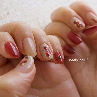 #ニュアンス #ボルドー #大人女子 #デート #シンプル #ラメ #ニュアンス #Noaly nail* #ネイルブック