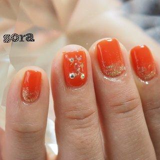 キャンペーンで2400円でした 期日はフェイスブックページ、ライン@に記載 #ハンド #ラメ #オレンジ #ジェル #お客様 #そらみ #ネイルブック