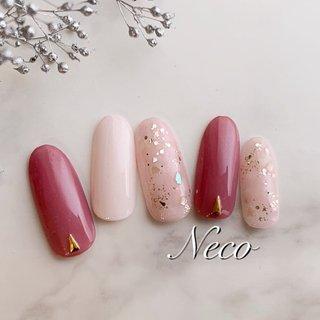#ラメ #シェル #ピンク #ジェル #ネイルチップ #nail salon Neco #ネイルブック