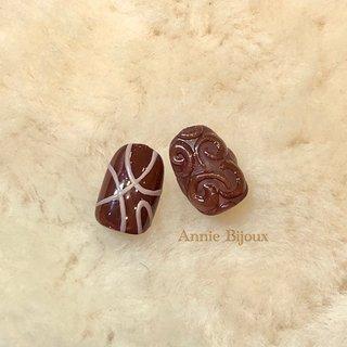 #バレンタインネイル #チョコレートネイル #3D #アイシング #ジェル #CHIHIRO♡ #ネイルブック