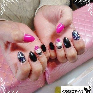 #秋 #冬 #ハンド #シェル #チェック #ミディアム #ピンク #ブラック #ジェル #お客様 #kuroneko-nail #ネイルブック