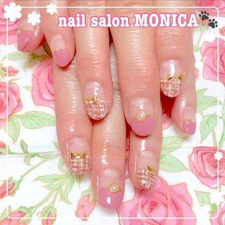冬らしいツイートネイル❤️ #ツイード #冬 #ハンド #ツイード #ベージュ #ピンク #ブラウン #nail salon MONICA 🐾 #ネイルブック
