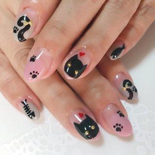 #黒猫 #猫 #猫ネイル #オールシーズン #変形フレンチ #アニマル柄 #ピンク #ブラック #nail_hana001 #ネイルブック