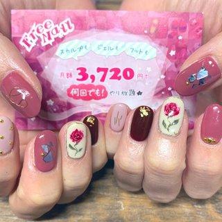 #バラ#薔薇#ワイヤー#シェル#くすみピンク#ボルドー #freenail2012 #ネイルブック