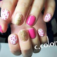#ポップ #レオパード #ピンク#かわいい #ハンド #ラメ #アニマル柄 #ショート #ホワイト #ピンク #ゴールド #ジェル #お客様 #C.color #ネイルブック