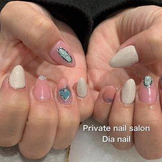 #夏 #旅行 #海 #リゾート #ワンカラー #シェル #エスニック #大理石 #Private nail salon Dia nail #ネイルブック