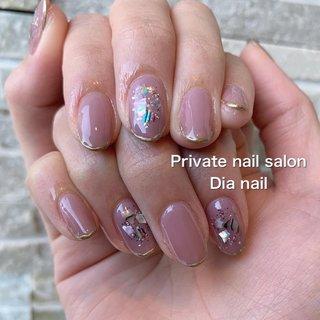 #夏 #秋 #冬 #ワンカラー #シェル #Private nail salon Dia nail #ネイルブック