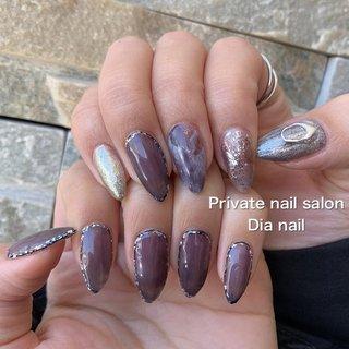 #秋 #冬 #ラメ #ワンカラー #大理石 #ニュアンス #Private nail salon Dia nail #ネイルブック