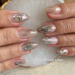 #秋 #冬 #グラデーション #シェル #ニュアンス #Private nail salon Dia nail #ネイルブック