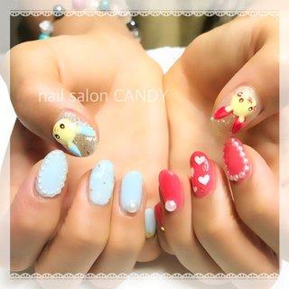 #オールシーズン #バレンタイン #旅行 #梅雨 #ハンド #ピンク #水色 #カラフル #Candy Nail #ネイルブック