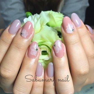 #ハンド #ワンカラー #たらしこみ #ピンク #パープル #Sabumary_nail #ネイルブック