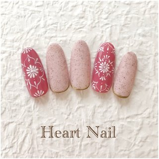 Heart♡Nail 070-2168-4970 heart.nail.kitakashiwa@gmail.com #春 #バレンタイン #デート #女子会 #ハンド #フラワー #アンティーク #エスニック #ホワイト #ピンク #スモーキー #ジェル #ネイルチップ #Heart❤︎Nail #ネイルブック