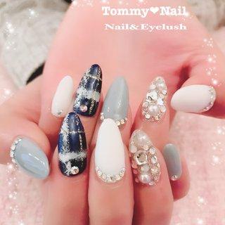 #冬 #バレンタイン #旅行 #デート #ハンド #フレンチ #ビジュー #チェック #ニット #マット #ジェル #お客様 #BeautySpa Tommy♡nail (トミーネイル) #ネイルブック
