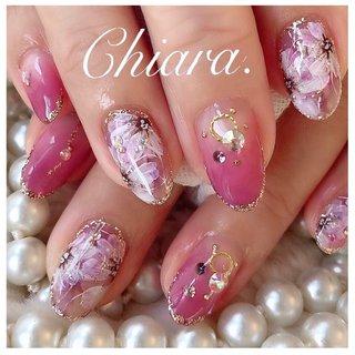 *   flowernails💍♡      Instagram → yochan4.nail #グラデーション #フラワー #シースルー #ピンク #YokoShikata♡キアラ #ネイルブック