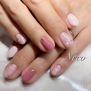 #ハンド #ラメ #シェル #ピンク #ジェル #お客様 #nail salon Neco #ネイルブック