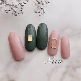 #ハンド #ワンカラー #ピンク #アースカラー #ジェル #ネイルチップ #nail salon Neco #ネイルブック