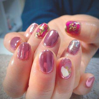 #ミラーネイル #ピンク #オールシーズン #ハンド #ミラー #ピンク #JUJU.nail #ネイルブック