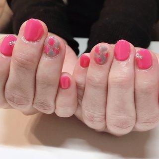 #春 #夏 #秋 #ハンド #ジオメトリック #ステンドグラス #ミディアム #ピンク #ジェル #お客様 #couleur nail クルールネイル #ネイルブック