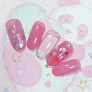 #バレンタインネイル#ハンド#ピンク#ハート #春 #バレンタイン #ピンク #パステル #ジェル #Kira_Kira34 #ネイルブック