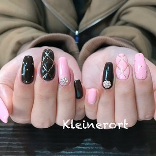 Mさん作 #冬 #オールシーズン #ワンカラー #キルティング #スーパーロング #ピンク #ブラック #nailsalon_kleinerort #ネイルブック