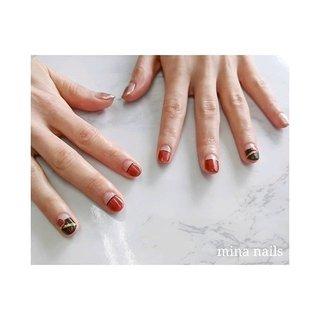 ♡ お客様のご要望にお応えした、大人のバレンタインネイル♪ #冬 #バレンタイン #デート #女子会 #ハンド #変形フレンチ #ラメ #イニシャル #ボルドー #ブラウン #ゴールド #ジェル #お客様 #mina nails #ネイルブック