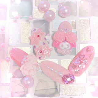 #マイメロネイル #マイメロ #ゆめかわいい #ゆめかわネイル #ピンク #3d #3dネイル #ビジュー #パール #ラメ #オールシーズン #バレンタイン #女子会 #ハンド #ラメ #ビジュー #3D #ピンク #うさやつ #ネイルブック
