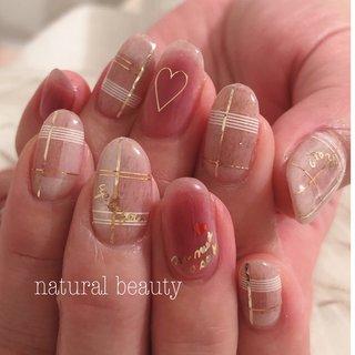 #バレンタイン #ハンド #チェック #ミディアム #ベージュ #ピンク #naturalbeauty #ネイルブック