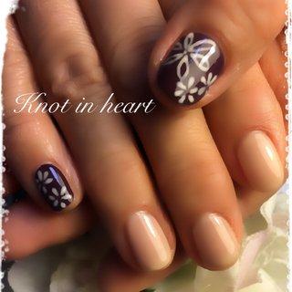 #和柄 #冬 #ハンド #knot in heart #ネイルブック