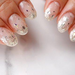 #冬ネイル#雪ネイル#グラデーションネイル #シンプルネイル #ラメ #ange nail salon #ネイルブック