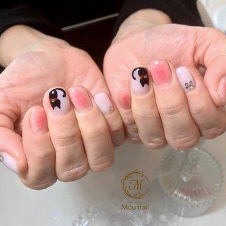 ※持ち込みデザインです♪ #オールシーズン #ハロウィン #デート #女子会 #ハンド #アニマル柄 #チーク #ショート #ホワイト #ピンク #ジェル #お客様 #Mou nail #ネイルブック