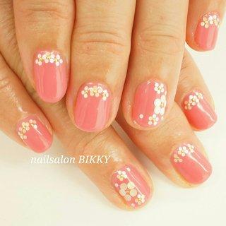 #ホログラム #フラワー #ピンク #Nailsalon BIKKY #ネイルブック