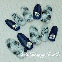 #Nailbook #秋 #冬 #ハンド #ワンカラー #チェック #ロング #ホワイト #ブルー #グレー #ブラック #ネイルチップ #Nail&BeautyRutile♡Risa #ネイルブック