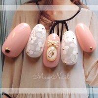 #Nailbook #ホワイト #ピンク #ゴールド #mew_nail #ネイルブック