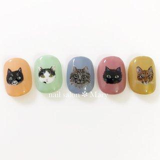 動物模写nail*° ・ ┈┈┈┈┈┈┈┈┈┈ ・ お客様の猫ちゃんをモデルに描かせて頂きました♡ ・ たくさん可愛い猫ちゃんたちのお写真ありがとうございました✨ ・ ・ 動物模写ネイル🐈ネット予約の際は【特殊アート×必要本数】のメニューを選択し、お写真を事前にご提示下さい🙏 ・ 1本550円前後です✎* *̣̩⋆̩┈┈┈┈┈┈┈┈┈┈┈┈┈┈┈┈┈┈ ・  #nail #nailstagram #nailart #gelnail #nailsalon #gelnails #maryネイル #marynail  #ネイル #ネイルサロン #ネイリスト #ネイルアート  #ねこネイル #猫ネイル #catnails #手描きネイル #和歌山ネイル #和歌山ネイルサロン #和歌山市ネイル #和歌山市ネイルサロン #和歌山市ネイルサロンマリー #オールシーズン #ハンド #キャラクター #ショート #スモーキー #カラフル #ジェル #ネイルチップ #mary #ネイルブック