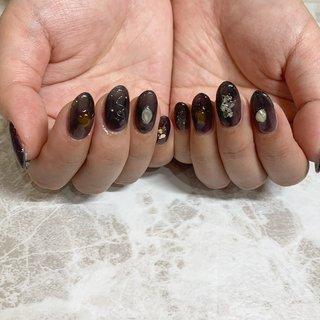black nuance #秋 #冬 #オールシーズン #ハンド #ニュアンス #ショート #ブラック #モノトーン #ジェル #お客様 #arisa #ネイルブック