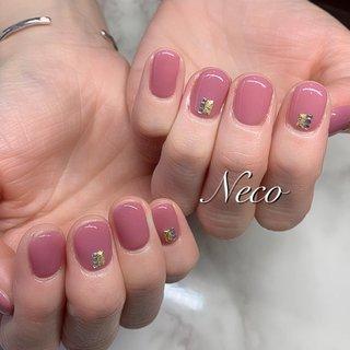 #ハンド #ワンカラー #ピンク #ジェル #お客様 #nail salon Neco #ネイルブック