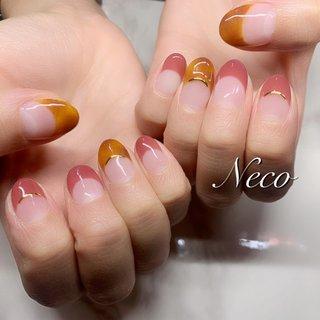 #ハンド #フレンチ #べっ甲 #ピンク #ブラウン #ジェル #お客様 #nail salon Neco #ネイルブック