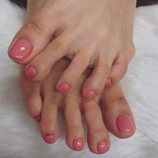 ワンカラーフットネイルです。可愛いピンクネイルです。皮膚がすぐ明るくなって見えます。是非試してください #オールシーズン #フット #ショート #ピンク #お客様 #nailup #ネイルブック