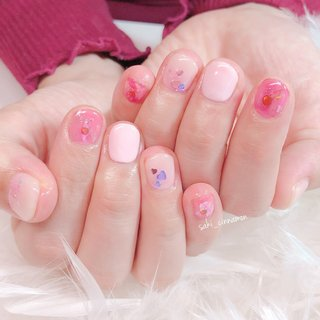 ピンク💓  とってもかわいいです💞ありがとうございました🍒😉   #ネイル #ジェルネイル #ネイルアート #nail #nails #nailart #gelnail #福岡ネイル #福岡ネイルサロン #大牟田ネイル #美甲 #春 #シンプル #ラメ #ワンカラー #オーロラ #ピンク #saki_cinnamon #ネイルブック