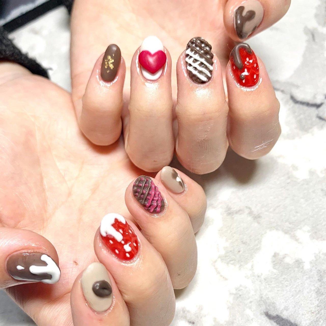 #バレンタイン#チョコネイル #いちごネイル #紗々ネイル #コーヒ豆 #mio.nail20 #ネイルブック