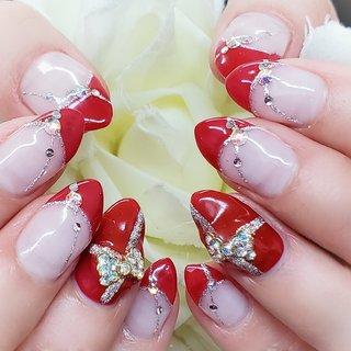 #バレンタイン #ハンド #フレンチ #ミディアム #レッド #ジェル #お客様 #nail salon shell #ネイルブック