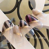 ボーダーのチョコレート色フレンチです♡ 美味しそうな色合いです!  #ななめフレンチ#ボーダー#チョコレートカラー #秋 #冬 #バレンタイン #ハンド #変形フレンチ #ベージュ #ブラウン #グレージュ #ジェル #ネイルチップ #レイールディッチャ #ネイルブック