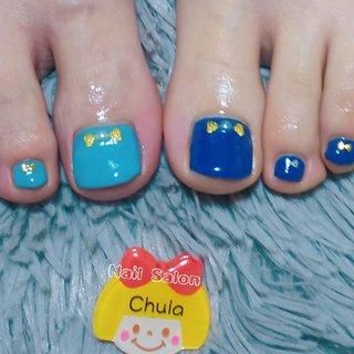 フットワンカラーデザインよりカラーチェンジデザインとさせていただきました✨ 楽しいお話ありがとうございました❤️  #くすみブルー #フットネイル#大河原 #冬 #オールシーズン #パーティー #デート #フット #シンプル #ワンカラー #ショート #水色 #ブルー #スモーキー #ジェル #お客様 #Chula #ネイルブック